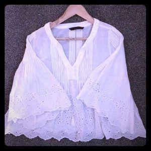 Zara Basic blouse white with 3/4 bell sleeves